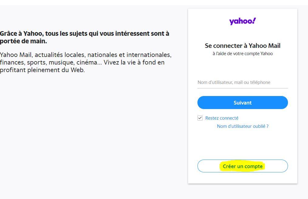 s'inscrire a yahoo mail gratuitement